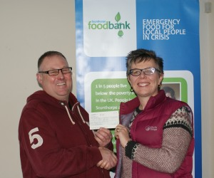 Iron Trust chairman Tony Gosling with Helen Armstrong of Scunthorpe Foodbank.